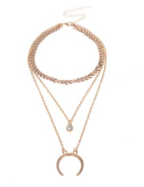 Fashion Gold Color C Shape Decorated Multi-layer Necklace