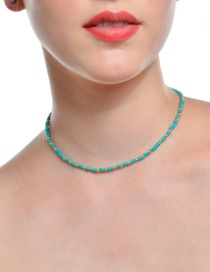 Fashion Green Beads Decorated Pure Color Choker