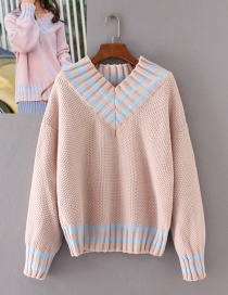 Fashion Pink Pure Color Decorated V Neckline Sweater