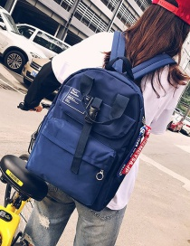 Fashion Blue Button Decorated Backpack
