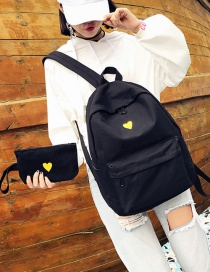 Fashion Black Heart Paattern Decorated Backpack (2 Pcs)