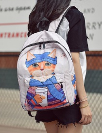 Fashion White Cat Pattern Decorated Backpack