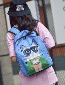 Fashion Blue Cat Pattern Decorated Backpack