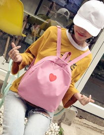 Fashion Pink Heart Pattern Deocrated Backpack