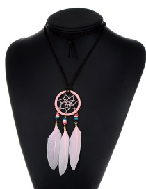 Fashion Light Pink Pure Color Decorated Necklace
