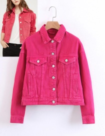 Fashion Plum Red Pure Color Decorated Coat