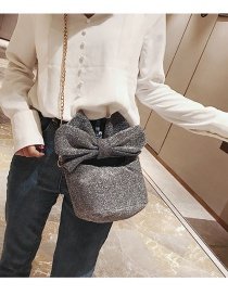 Fashion Gray Bowknot Shape Decorated Shoulder Bag