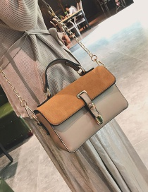 Fashion Khaki Rivet Decorated Shoulder Bag