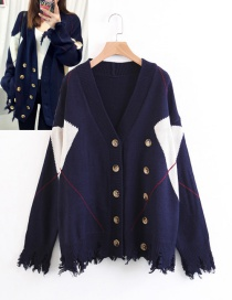 Fashion Navy+white Button Decorated Coat