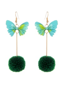 Fashion Green Butterfly Shape Decorated Earrings