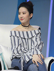 Fashion White Stripe Pattern Decorated Off The Shoulder Shirt