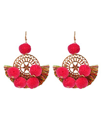 Fashion Red Tassel Decorated Pom Earrings