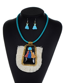 Fashion White Tassel Decorated Jewelry Set