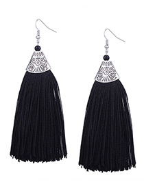 Vintage Black Long Tassel Decorated Pure Color Earrings