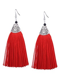 Vintage Red Long Tassel Decorated Pure Color Earrings