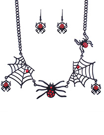 Fashion Black Cobweb&spider Decorated Jewelry Sets