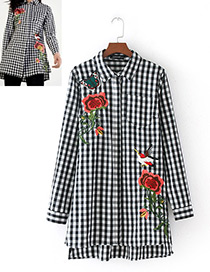 Fashion Black+white Embroidery Flower&bird Decorated Blouse