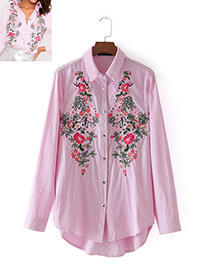 Fashion Red+white Stripe Pattern Decorated Embroidery Shirt