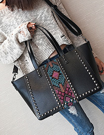 Trendy Blue Rivet Pattern Decorated Shoulder Bag