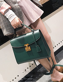 Trendy Green Pure Color Decorated Shoulder Bag