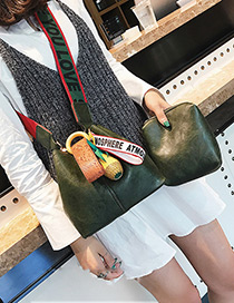 Trendy Green Pineapple Decorated Bucket Shape Shoulder Bag