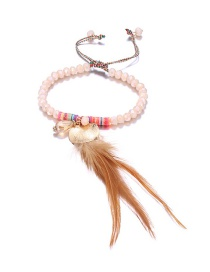 Fashion Pink Feather Decorated Bracelet