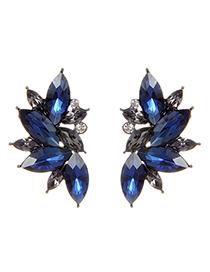 Fashion Navy Blue Oval Shape Decorated Earrings