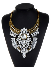 Fashion Gold Color Oval Shape Diamond Decorated Multi-layer Necklace