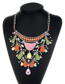 Fashion Multi-color Beads Decorated Color Matching Necklace