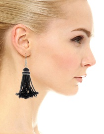 Fashion Black Beads Decorated Pure Color Tassel Earrings