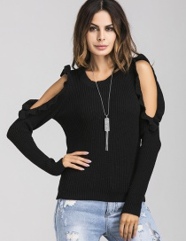 Trendy Black Pure Color Decorated Round Neckline Sweater
