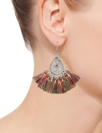 Fashion Multi-color Tassel Decorated Hollow Out Design Earrings