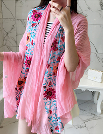 Trendy Pink Embroidery Flower Decorated Scarf