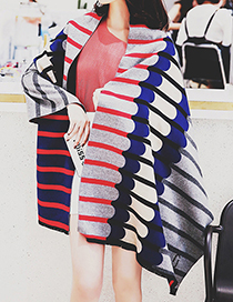 Trendy Multi-color Stripe Pattern Decorated Thicken Scarf