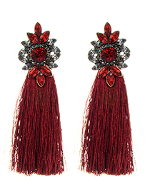 Fashion Claret Red Diamond Decorated Tassel Earrings