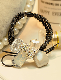 Fashion Black+white Balls Decorated Double Layer Hair Band
