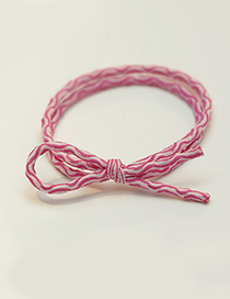 Fashion Plum Red Pure Color Decorated Double Layer Hair Band
