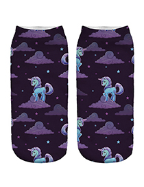 Trendy Purple Unicorn Pattern Decorated Short Sock