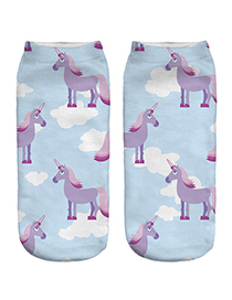 Trendy Blue+purple Unicorn Pattern Decorated Short Sock