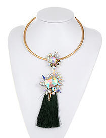 Fashion Green Geometric Shape Diamond Decorated Tassel Choker