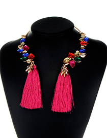 Fashion Plum Red Water Drop Shape Diamond Decorated Tassel Necklace