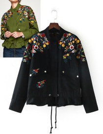 Trendy Black Embroidery Flower Decorated Simple Coat