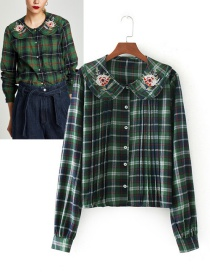 Trendy Green Grid Pattern Decorated Long Sleeves Shirt