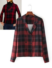 Trendy Red+black Grid Pattern Decorated Long Sleeves Blouse