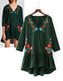 Trendy Green Grid Pattern Decorated Embroidery Dress