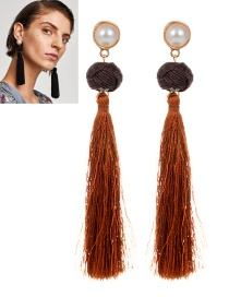 Fashion Brown Pearls Decorated Long Tassel Earrings