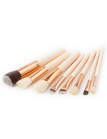 Fashion White Round Shape Decorated Makeup Brush(8pcs)