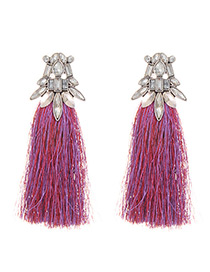 Fashion Red+purple Diamond Decorated Long Tassel Earrings