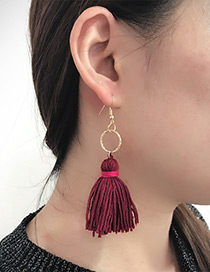 Fashion Claret Red Circular Ring Decorated Tassel Earrings