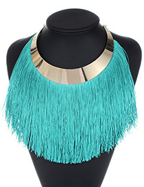 Fashion Blatic Long Tassel Decorated Pure Color Necklace